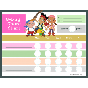 Neverland Pirates 5-Day Chore Chart (Fillable)
