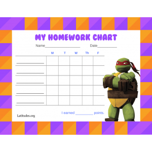 Ninja Turtle Homework Completion Chart (Fillable)