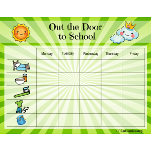 Out the Door to School Star Chart