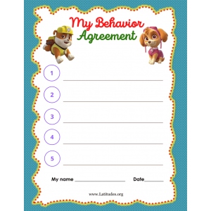 Paw Patrol Behavior Agreement (Fillable)