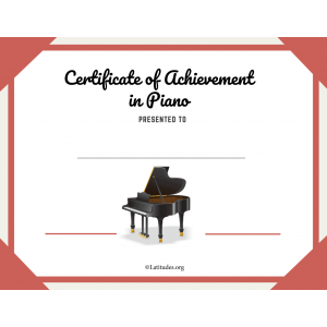 Piano Certificate of Achievement Blank (Fillable)