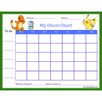 Pokemon Star Chore Chart (Fillable)