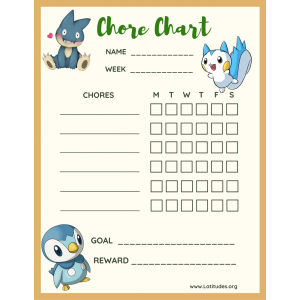 Pokemon Weekly Chore Chart (Fillable)