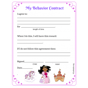 Princess Elementary Behavior Contract (Fillable)
