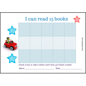 Read 15 Books Car Reading Chart (Fillable)