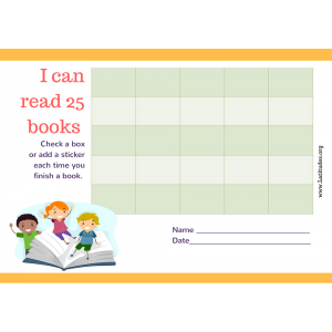 Read 25 Books Kids Reading Chart (Fillable)