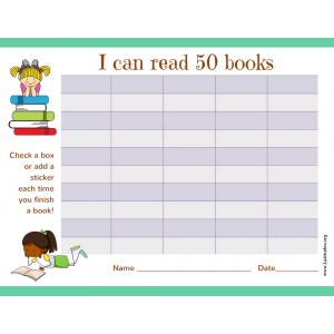 Read 50 Books Girls Reading Chart (Fillable)