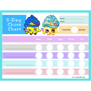Shopkins 5-Day Chore Chart (Fillable)