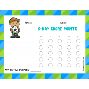 Soccer 5-Day Points Chore Chart