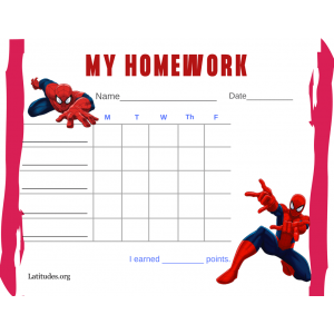 Spiderman My Homework Completion Chart