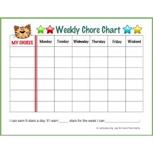 Tiger Weekly Chore Chart (Fillable)