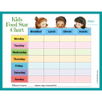 Weekly Kids Food Star Chart (Fillable)