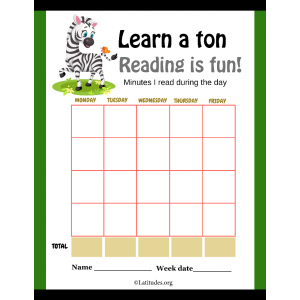 Zebra Learn a Ton Reading is Fun Minutes Chart (Fillable)